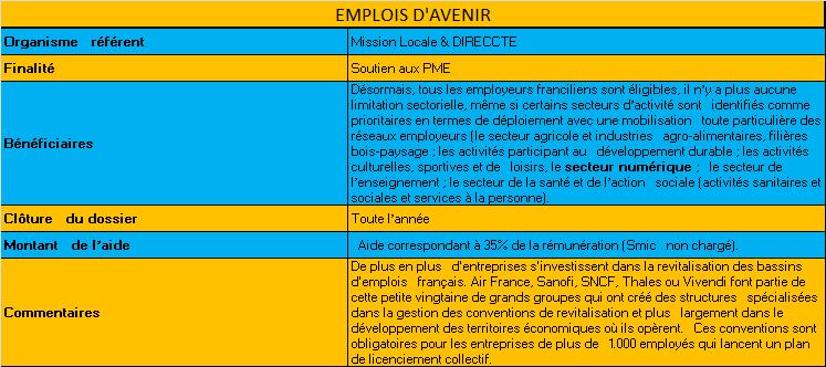 Aides Emploi d'avenir - Financement des PME